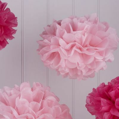 Pom Poms Pink Mix Tissue Decorations - pack 5  (Party-pom)