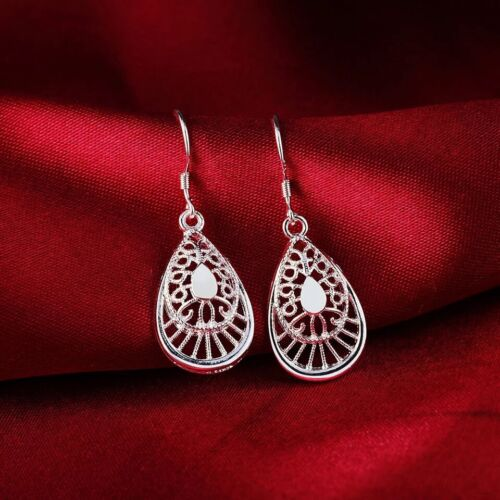 Women 925 Sterling Silver Filigree Flower Tear Drop Dangle Hook Earrings E46 Earrings