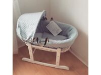 Baby blue moses basket and rocker