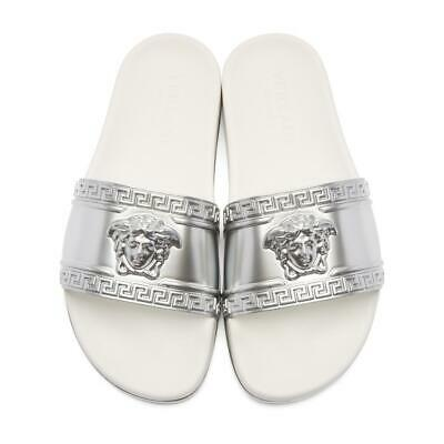 Versace Men's Size 43 Silver Medusa Head Beach Slides Sandals