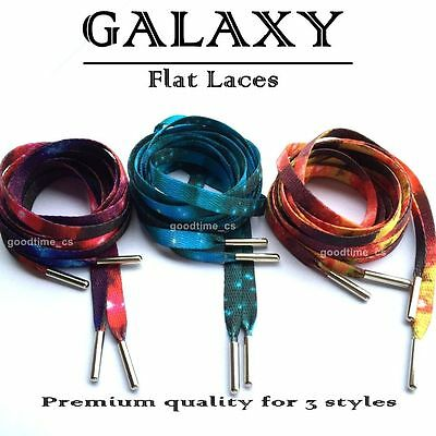 PREMIUM Galaxy Print Laces with Silver Tips Shoe Lace  - Galaxy Laces