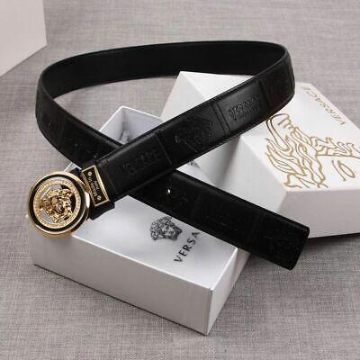 Authentic Versace Black Leather Gold Medusa Buckle Belt size 95/38 waist 34-38