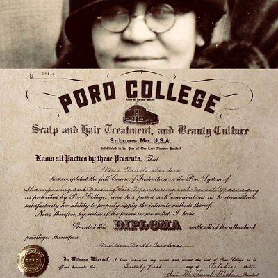 1927 Poro Diploma, Annie Malone, Madam CJ Walker, Hair, BlackBeauty Barbershop