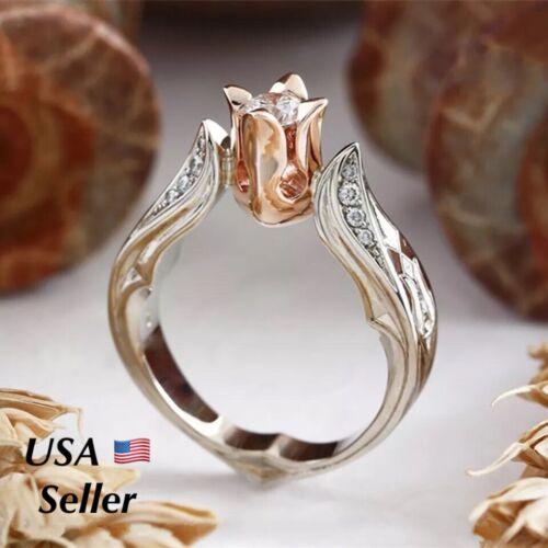Women Rose Flower Love Ring Silver Rhinestone Fashion Jewelry
