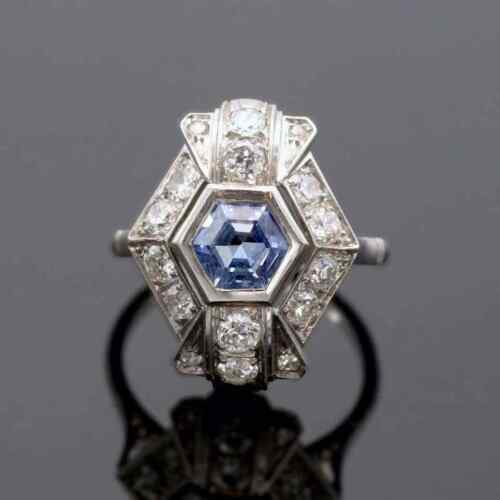 Awesome Mid-Century Vintage Style Hexagonal 1.03CT Sapphire & White CZ Fine Ring