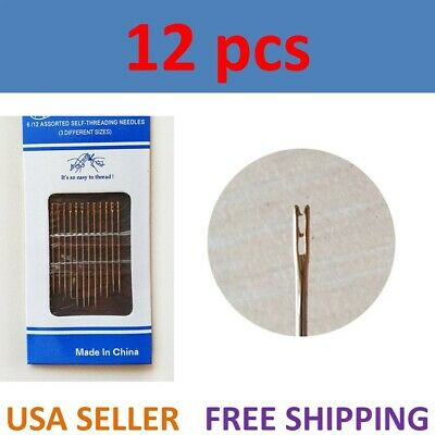 12PCs Thick Big Eye Sewing Self-Threading Needles Embroidery Hand Sewing USA