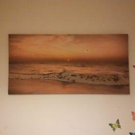 Sunset Beach Large Glitter Canvas