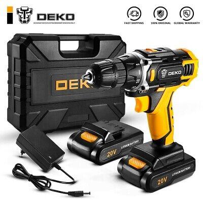 DEKO-taladro eléctrico destornillador de 20V, 2 baterías y maletín transportador