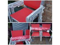 NEW UNUSED red 6-8 piece garden furniture set,6 armchairs large oblong table & xl parasol never used