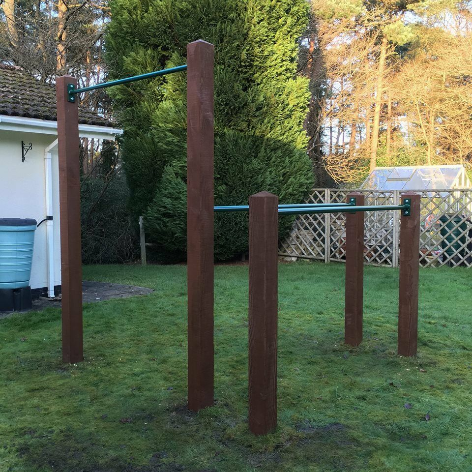 Crossfit Backyard Pull Up Bar :  pull up and dip bars combo installation for calisthenics and crossfit