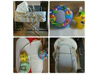 Moses basket, Mattress, Stand, Cover, Head support, Disney Tommy toys.