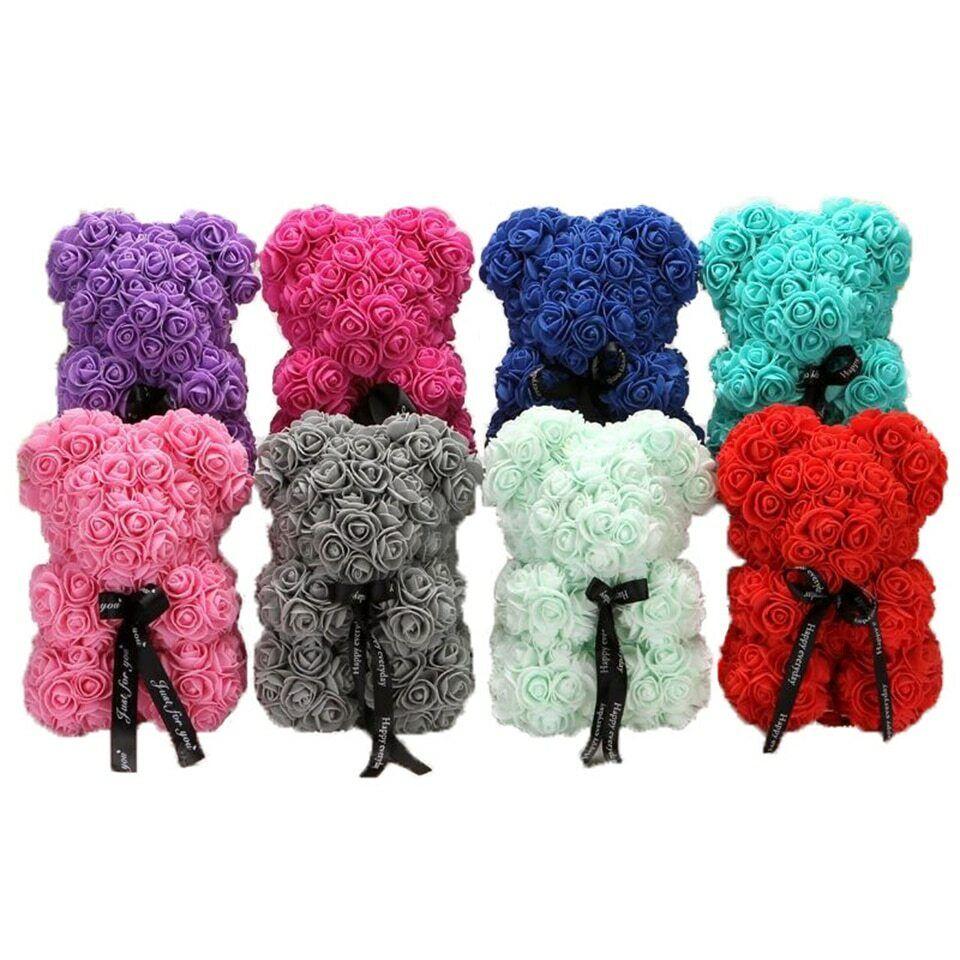 25cm Pink Rose Teddy Bear /w Heart Flower Gift For Girlfrien