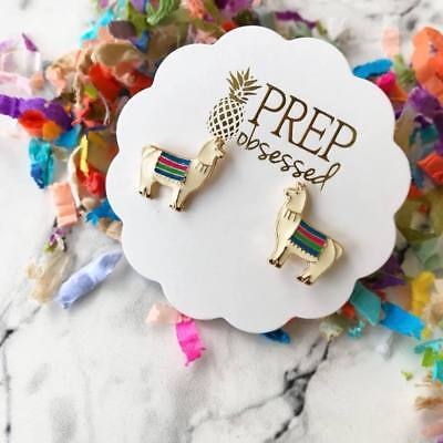 Llama Earrings Enamel Studs Gifts Llama Llama Jewelry by Prep Obsessed - Llama Jewelry