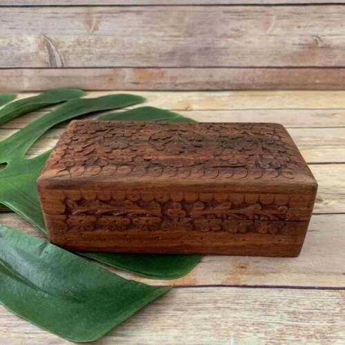 Wood Floral Carved Velvet Lined Decorative Jewelry Box Boho Indie Decor