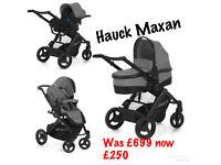 Brand new no box Hauck maxan parent facing 4 in 1 travel system pram pushchair GREY ISOFIX CAR SEAT
