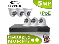 OYN-X/QVIS 5MP MegaPixel IP Network 2.8mm CCTV Camera System 4 Ch or 8 CH NVR PoE Kit