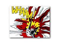 WHAAM! Roy Lichtenstein Inspired Original Painting On Canvas Picture Modern Pop Art Size 30x24 Inch