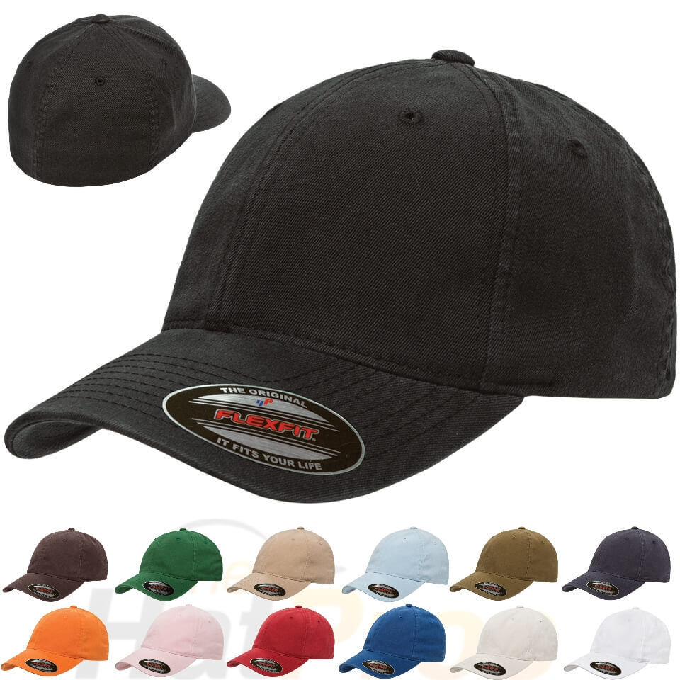 New Original FLEXFIT® Fitted College Hat Dad Cap Blank Low