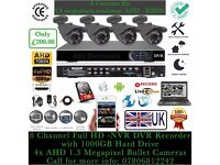 4 Cameras HD Full CCTV Kit, 8CH AHD DVR 1TB HDD, 4x HD Bullet Cameras