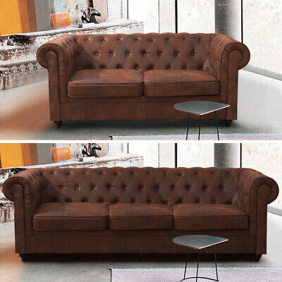 Distressed Tan Leather 1/2/3 Seater Armchair Couch Settee Sofa Chesterfield Seat