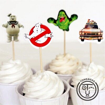 👻12x Ghostbusters Cupcake Topper Pick. Party Supplies Lolly Loot Bag Cake Flag