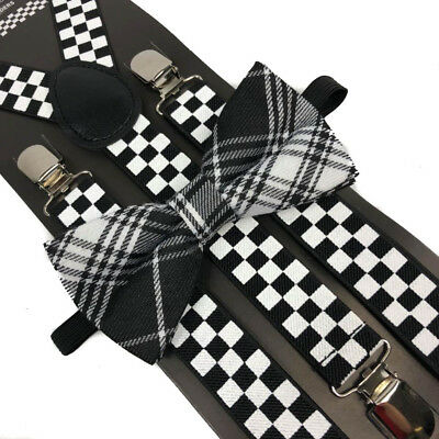 (Black/White Plaid Bow Tie & Checker Suspender Wedding Party Apparel Accessories)