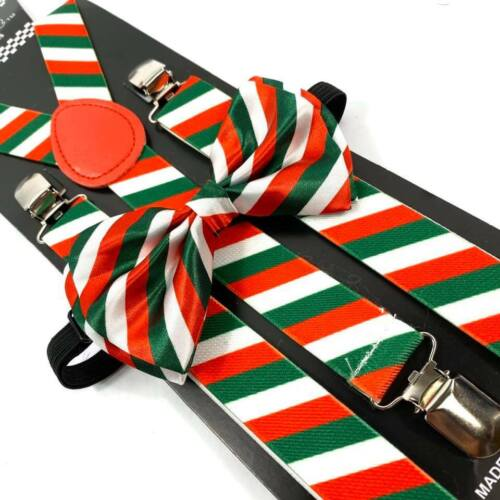 Christmas Red Green Candy Cane Suspender And Bow Tie Set Men Women Accessory