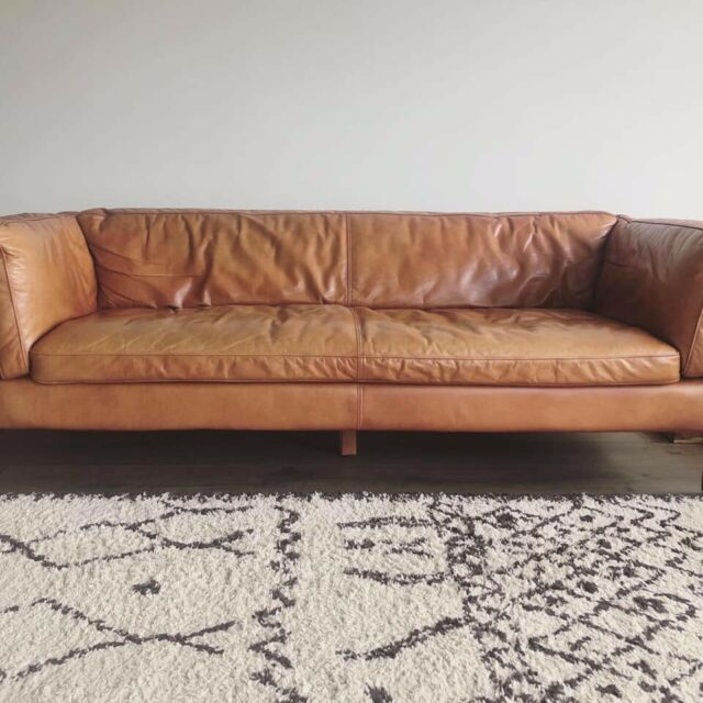 Beautiful Halo Groucho 3 Seater Leather Sofa In Newquay