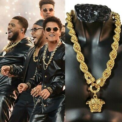 Versace Huge Medusa Chain as seen on Bruno Mars during 2019 SuperBowl half-time