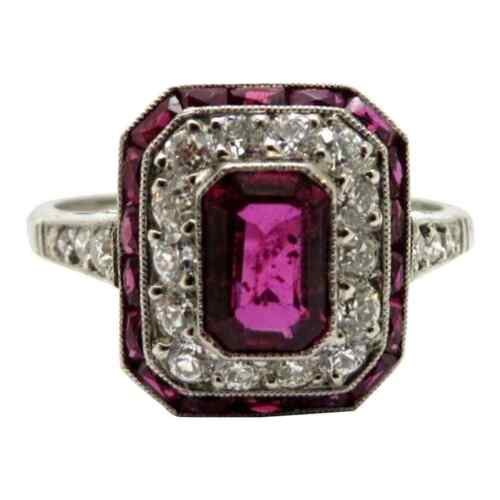 Magnificent Art Deco Style 925 Silver 1.5CT Old European Cut CZ & Pink Ruby Ring