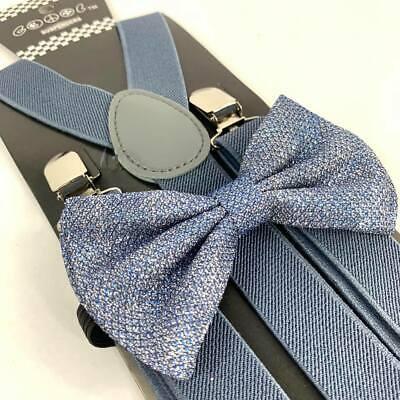 Dusty Blue Glitter Suspender and Bow Tie Set Tuxedo Wedding Formal - Glitter Suspenders