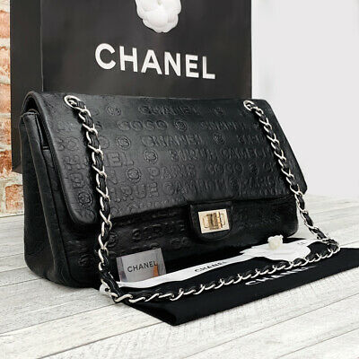 CHANEL Authentic Classic Maxi Jumbo Reissue  Cambon With Flap  Black Leather Bag