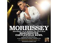 **FACE VALUE** 4x Morrissey standing tickets, Castlefield Bowl Manchester, Saturday 7th July 2018