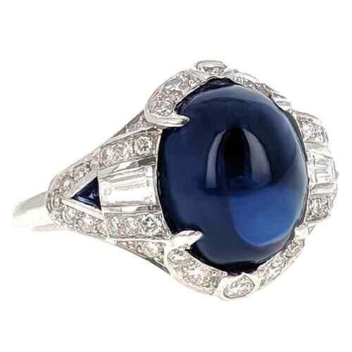 Shiny Navy Blue Cabochon Shape Sapphire With White CZ 6.28TCW Art Deco Fine Ring
