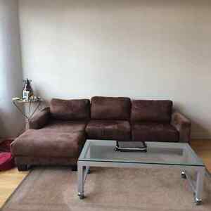 Modern Brown Microfibre Sectional w/ seperate ottoman