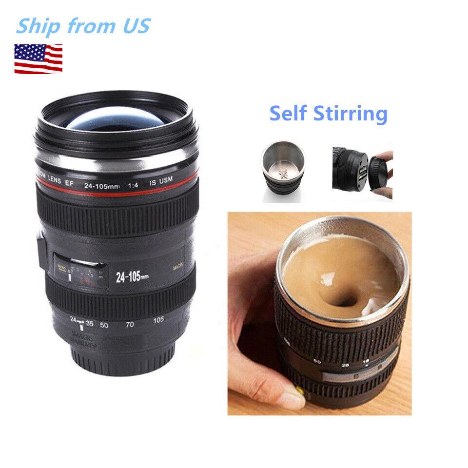 Self Stirring Camera Lens EF 24-105mm Thermos Travel Tea Cof
