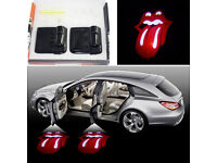 2 x 3D LIPS DOOR LED LOGO COURTESY LIGHT LASER GHOST PROJECTOR SHADOW LITE RED HOT*