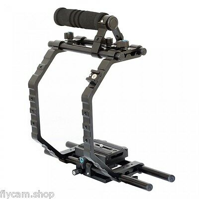 "Hot Sale! DSLR 9"" Camera Cage with Rod Support for Shoulder Steady Rig Hood Kit"