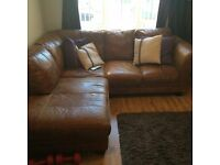 DFS leather corner sofa and foot stool £350 ONO