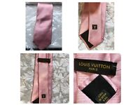 LOUIS VUITTON 100% Silk PINK Tie New without tag
