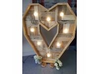 HIRE 4ft light up vintage style heart - manchester £75
