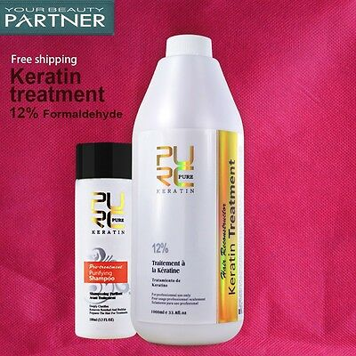 PURE Chocolate Keratin Treatment 1000ml +100ml Purifying Shampoo Hair Repair