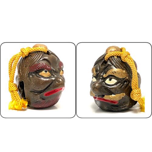 Japanese Clay Bell Dorei  2 Faced Mask Vintage Tengu Karura Pottery Doll Head