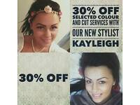 30% off with Kayleigh @ copperhead salon