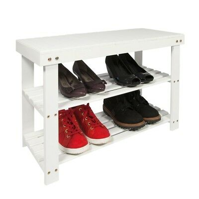 2 Tier Wooden Shoe Rack Hallway Bench Shoe Tidy Storage Organiser- White