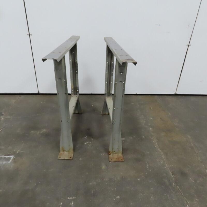"""Industrial Steel Shop Table Legs Workbench Legs 32-1/4"""" T x 35-1/2"""" W Lot of 2"""