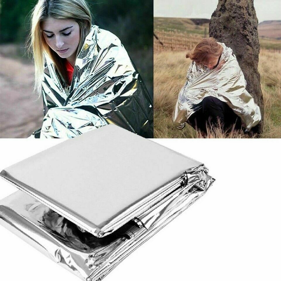 8 Pack Emergency BLANKET Thermal Survival Safety Insulating Mylar Heat 82″ X52″ Camping & Hiking