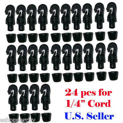 """24X 1/4"""" Hooks for 1/4"""" Bungee Shock Cord End Tabbed Kayyak Boots Reuseable"""