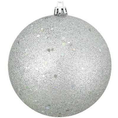 Holographic Christmas Decorations (CHRISTMAS TREE DECORATIONS - SET OF 4 SILVER HOLOGRAPHIC GLITTER BALL ORNAMENTS )