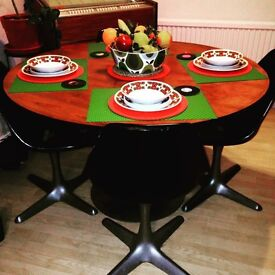 Retro arkana dining table with chairs